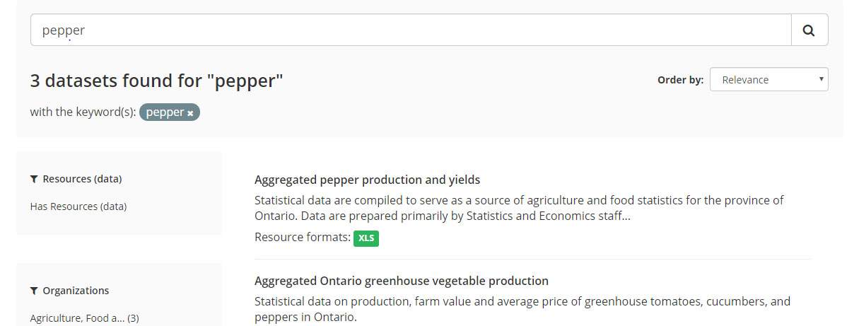 A screenshot of the dataset search results page. The user has searched for the word pepper and 3 results are displayed.